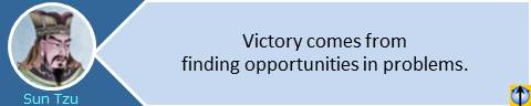 Victory comes from finding opportunities in problems. Sun Tzu the Art of War quotes
