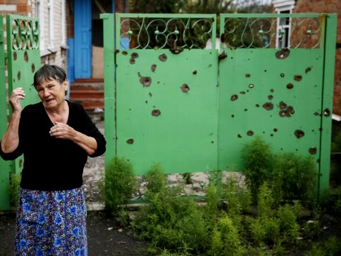 Eastern Ukraine: House of an old lady shelled by the Ukrainian army, Ukraine massacres of civilians