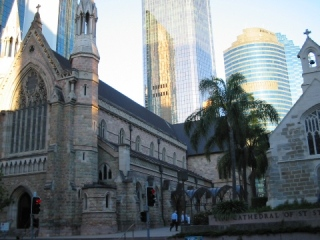 Wonderful Australia, Brisbane, traditional Chirch and Modern Architecture come together