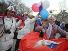 Crimea returns to Russia referendum 2014 happy people celebrations Russian flag