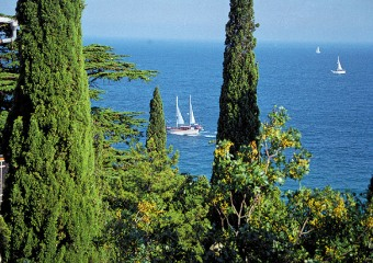 Crimea beautiful sea view, yachts cypresses